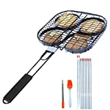 JOCYI Nonstick Grilling Basket with Divider, Barbecue Grilling Baskets-Perfect for Grilled Steak, Hamburger,Vegetables,10pcs 13inch Skewers,Wide Flat BBQ Skewers,1 Little Blower 1 Silicone Brush