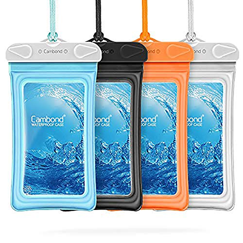 """Floatable Waterproof Phone Pouch, Cambond Floating Water Proof Cell Phone Case Both Sides Clear Dry Bag for iPhone 12 Pro Max/XR/8/7 Galaxy Pixel Up to 6.5"""", Snorkeling Cruise Ship Kayaking, 4 Pack"""