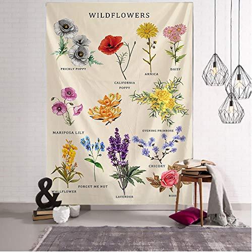 Tapiz de Flores Silvestres decoración del hogar Estilo nórdico Planta Moderna Tipo Lienzo Pintura Cuadros Tela de poliéster Colgante de Pared