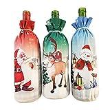 Amosfun - Funda para botella de vino, diseño de Papá Noel, muñeco de nieve, alce, bolsa de Navidad, fiesta, botella de vino, para decoración de Navidad