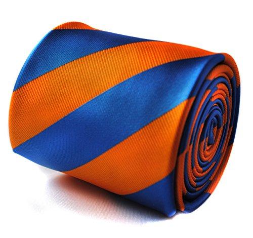 Frederick Thomas Cravate rayée orange et bleu roi