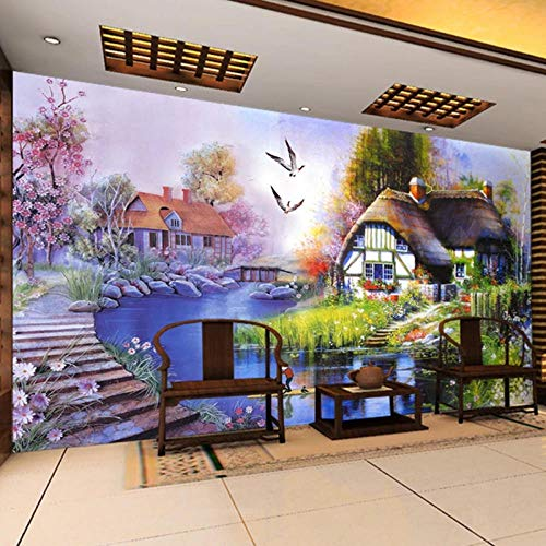 Fotografía de fondo 3d aceite de la naturaleza estéreo paisaje pintura salón sofá decoración mural televisor programa fondo retro estilo europeo al aire libre * 150cmx105cm (59.1x41.3inch)