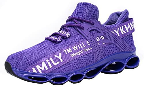 DYKHMATE Zapatillas de Seguridad Hombres Mujer Punta de Acero Calzado de Trabajo TPU Ligero Transpirable Zapatos de Seguridad Anti Choque (Morado,38 EU)