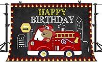 HD消防車のテーマハッピーバースデーの背景の最初のベビーシャワーの写真撮影10x7FT消防士消防車消防士の写真の背景パーティーウォールペーパールーム壁画小道具BJLSPH299