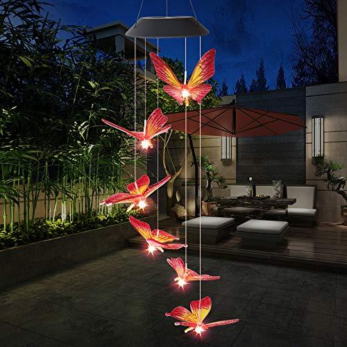 Lixada Lámpara de Campanilla de Viento Alimentada con Energía Solar Mariposa Que Cambia de Color para la Decoración de Patio Jardín Fiesta