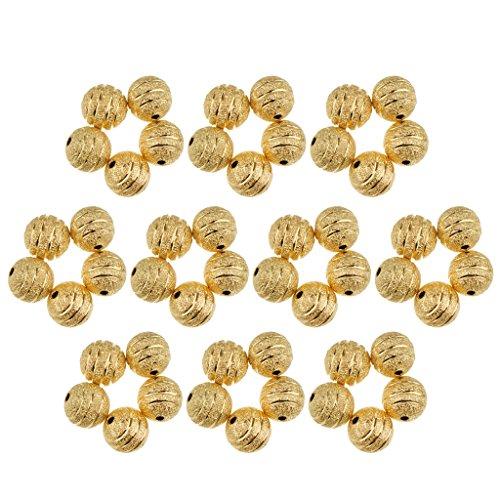 yotijar Búsqueda de cuentas espaciadoras de cobre con esferas redondas de plata chapada en oro de 50 unidades – Dorado 1