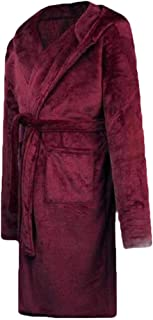 Men Soft Kimono Shawl Hooded Bathrobe Collar Hooded Long Robe Housecoats with Pockets Sleepwear
