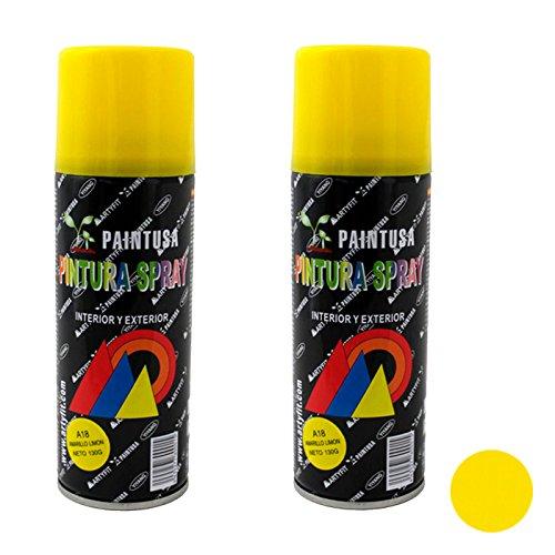 Paintusa - Pack de 2 Botes de Pintura en Spray Amarillo Limón A18 200 ml