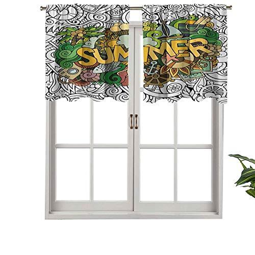 Hiiiman Cortina opaca para ventana con bolsillo para barra, para verano, tipografía sobre objetos tropicales, peces ancla, marina, juego de 1, 91,4 x 45,7 cm para sala de estar, cortina recta corta
