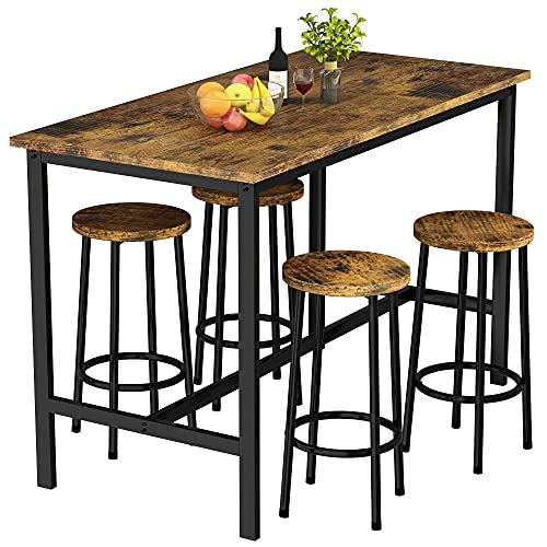 """HOOSENG Bar Table Set Dining Table Set with 4 Bar Stools Industrial Style Table Set Height 32.6"""" for Kitchen,Living Room,Party Room,Rustic Brown"""