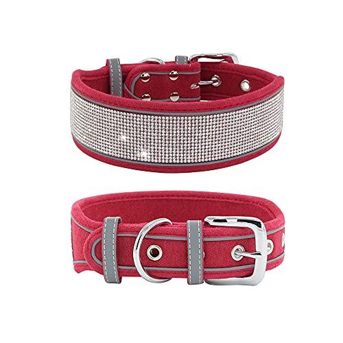 Elegel Collar reflectante para perro mediano grande brillante de ante con brillantes de imitación y corbata para mascotas y números de teléfono móvil (rojo S)