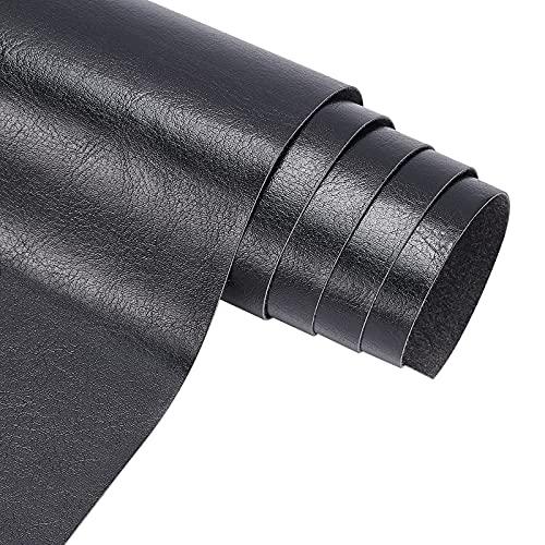 BENECREAT Cuero sintético de piel sintética (33 cm x 140 cm), color negro (0,4 mm de grosor)