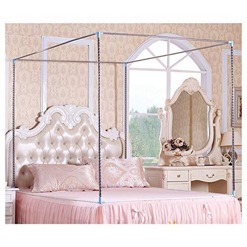 HOXMOMA Moskitonetzhalter Vier Eckbett, Edelstahl Baldachin Moskitonetz Baldachin Rahmen, Bettüberdachung, Gestell für Twin/Full/Queen/California King/King Size Bett,25mm,1.8×2m Bed