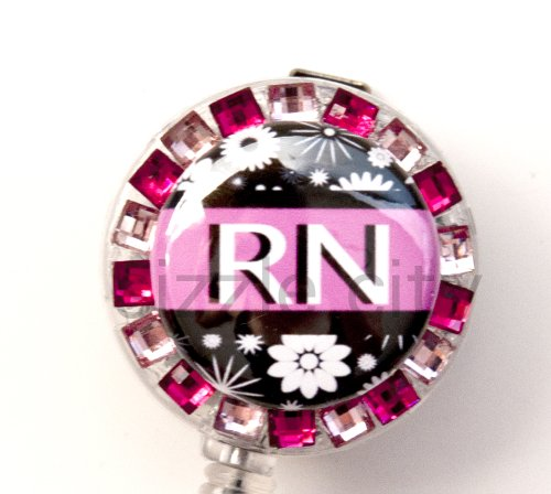 PINK STRIPE FLOWER RN LOGO Nurse Rhinestone Retractable Badge Reel/ ID Badge Holder