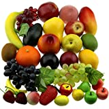 Gresorth 30 Frutas Decorativo Realistic Artificial Fruta Falso limón Plátano Manzana Grape Melocoton Pera