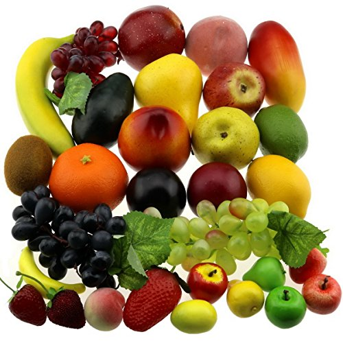 Gresorth 30 Frutas Decorativo Realistic Artificial Fruta Falso limón Plátano Manzana Grape...