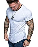 Mens Casual Athletic Shirts Fashion Solid Color T-Shirt Slim Fit Sport Tops White L