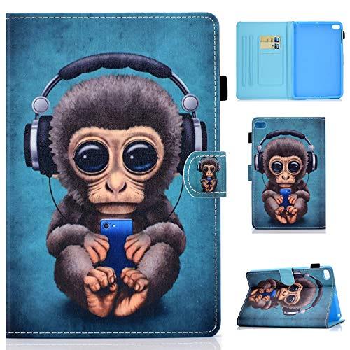 Jajacase Hülle für iPad Mini 1 2 3 4 5 - PU Leder,Kratzfeste Schutzhülle Cover Hülle Tasche mit Standfunktion,Musik AFFE