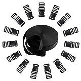 Langtor 15 Juego de liberación Lateral de Hebillas de plástico con 1 Rollo 10 Yardas Correas de Nylon para Hacer Bricolaje Correa de Equipaje, Collar de Mascota, Reparación de Mochila