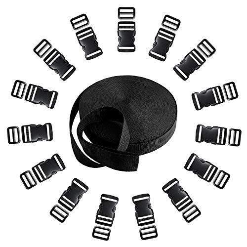 Langtor 15 Set Fibbie in plastica con sgancio Laterale con 1 Rotolo 10 Yards Cinturino in Nylon con Cinghie per Fai da Te Cinghia per Bagagli, Collare per Animali, Riparazione di Zaini