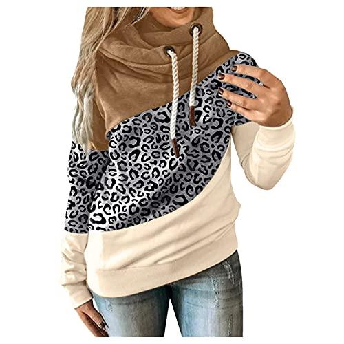 Briskorry Sudadera con capucha para mujer, de manga larga, a rayas, para otoño e invierno, con cordón, Color caqui-5., L