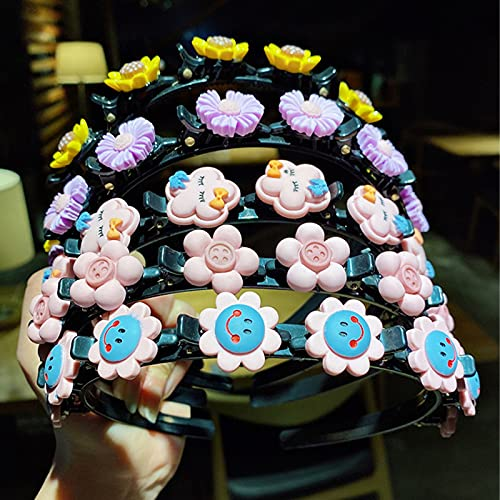 uigiut 2021 Girl Sweet Princess Hairstyle Hairpin, Cartoon Headbands with Clips, Double Bangs Hairstyle Hairpin Headband, Cute Little Girl Headbands Twist Plait Hair Tools (all 10Pcs)