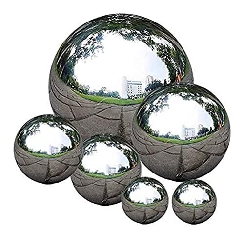 Gartendekoration, Edelstahl Saming Ball, 6 Stück 50-150 mm Spiegel polierte Hohlkugel Reflektierende Gartenkugel, schwimmende Teichkugeln Nahtlose Blicke Globus für Hausgarten Ornament Dekorationen