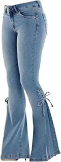 Womens Bell Bottom Flare Jeans High Waisted Wide Leg Side Lace up Long Pants