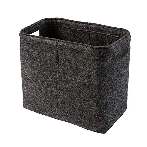 luxdag Aufbewahrungskorb Premium Design aus Filz, dunkelgrau | Handtücher Zeitungen Toilettenpapier Windeln | dezent elegant freistehend | Toilettenpapierhalter für 4 Rollen