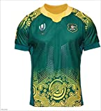 CHERSH Coupe du Monde 2019 en Australie Home and Away Rugby Jersey Fan Supporter Shirt d'entraînement Remplacer Rapide à Manches Courtes à Sec Sportwear Green-XL (Color : Green, Size : Large)