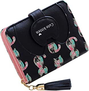 ミニ財布 レディース 二つ折り タッセル 猫 小さい財布 手のり財布 金運アップ カワイイ 大容量 写真入れ コインケース 3*カードケース かわいい コンパクト 女性用 友達 家族 プレゼント