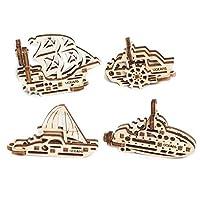 Ugears ユーギアーズ U-Fidget U-フィジェット 船(Ships) 木のおもちゃ 自分 組み立てて動く3D パズル70035