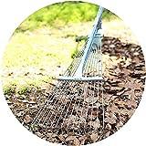 rastrillo jardin rastrillo cesped artificial Rastrillo de hojas ajustable Rastrillo de jardín telescópico de 15 dientes Rastrillo de hojas de metal con mango ergonómico Herramienta de jardín de c