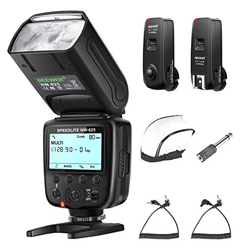 Neewer NW625 GN54 Speedlite Flash Kit Compatible with Canon Nikon Panasonic Olympus Pentax DSLRs & Sony Mirrorless Cameras with Mi Hot Shoe, FC-16 2.4GHz Flash Trigger Set and Diffuser Included