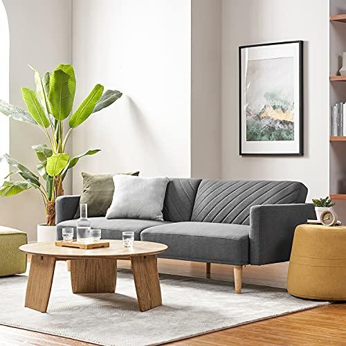 Mopio Chloe Futon Sofa Bed, Convertible Sleeper Sofa with Tapered Legs, 77.5' W, Small Splitback Sofa for Living Room, Dark Gray Fabric