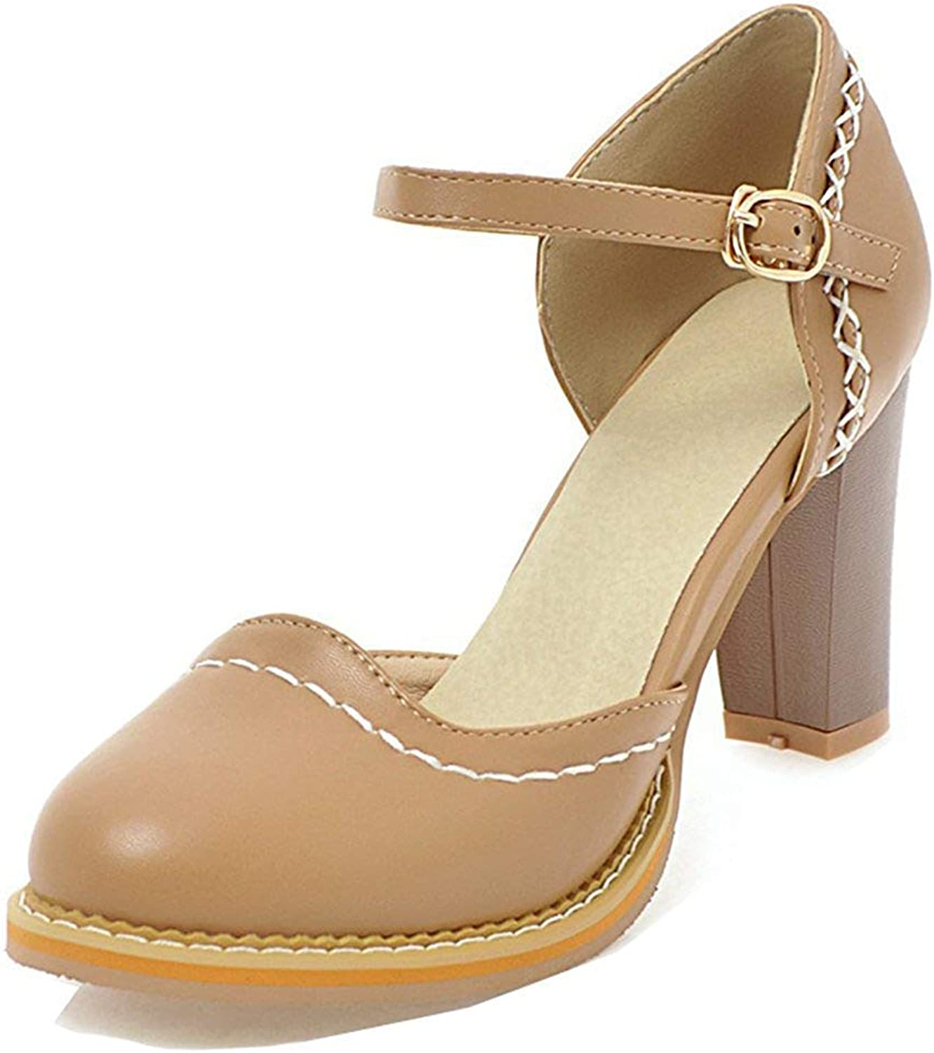 Unm Women's Closed Toe Sandals with Ankle Strap - Stacked High Heel D'Orsay - Cute Comfort Buckled