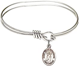 5 3/4 inch Oval Eye Hook Bangle Bracelet with a St. Ivo of Kelmartin charm./Saint Ivo of Kermartin is the patron saint of Attorneys/Orphans. Memorial Day May 19th./Attorneys/Orphans