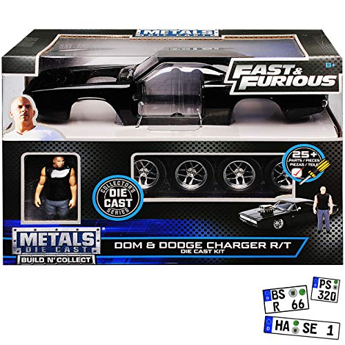 Dodge Charger R/T mit Figur Dom Toretto The Fast and The Furious Bausatz Kit 1/24 Jada Modell Auto