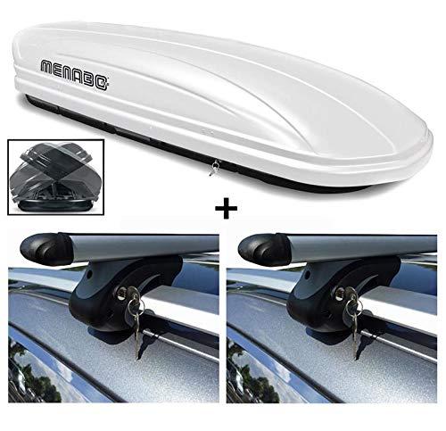 Dakkoffer wit VDP-MAA580 DUO grote dakkoffer afsluitbaar + aluminium raildrager dakbagagedrager voor Peugeot 207 Break SW WK vanaf 07 75 kg