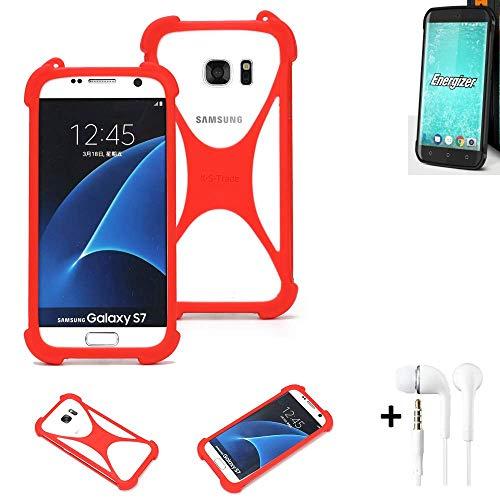 K-S-Trade® Handyhülle + Kopfhörer Für Energizer H550S Schutzhülle Bumper Silikon Schutz Hülle Cover Case Silikoncase Silikonbumper TPU Softcase Smartphone, Rot (1x),