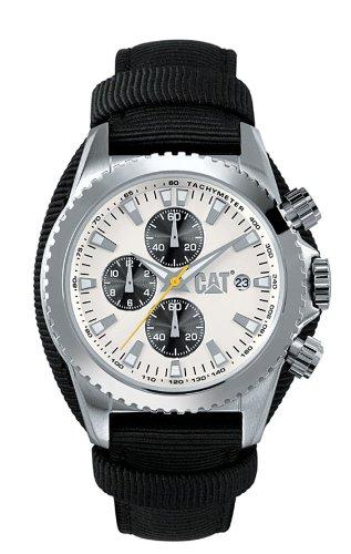 Caterpillar Staten CA1058 - Reloj analógico de Caballero de Cuarzo con Correa de Piel Negra (cronómetro)