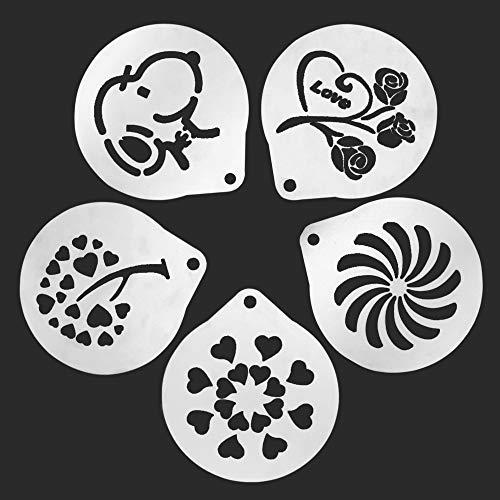 Moapei 5pcs Stampi per Caffè Acciaio Inossidabile Stencil Cappuccino Barista,Cappuccino,Arti,Ghirlanda di Caffè,Stampo per Decorazione Torte