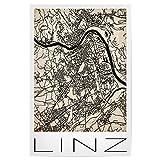 artboxONE Poster 30x20 cm Städte Retro Map Linz Vintage