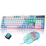 Packs de Teclado y ratón mecánico Gaming RGB Switch Blue 104 Teclas Disposición Ergonómica 9 Modos de iluminación RGB Teclado Ratón Gaming 6400 dpi para PC/Mac con Windows - Azul