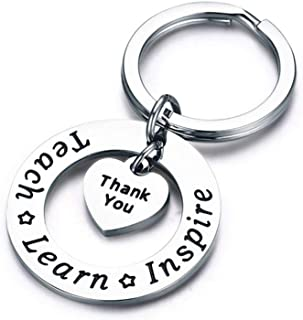 CH Heart Shaped Keychains Letter Thank You Hanging Ornament Keyring Purse Pendant Key Chain for Teacher Thanksgiving Gifts
