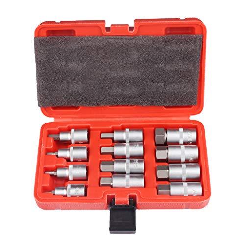 KunmniZ 12 unids 1/2 especificación moleteado manga hexagonal destornillador broca socket DIY Hobby