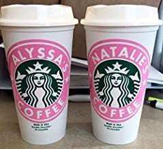 Personalized 16oz Reusable Starbucks Cups with Lids
