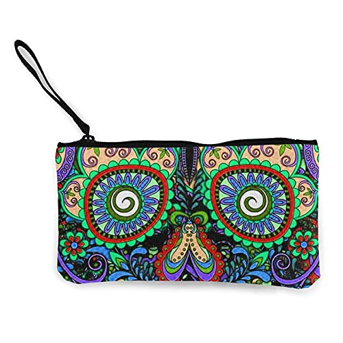 Portefeuille en Toile Vintage Mexican Sugar Skulls Day of The Dead Flower Heart Canvas Coin Purse with Zipper Canvas Makeup Pouches Gift for Women