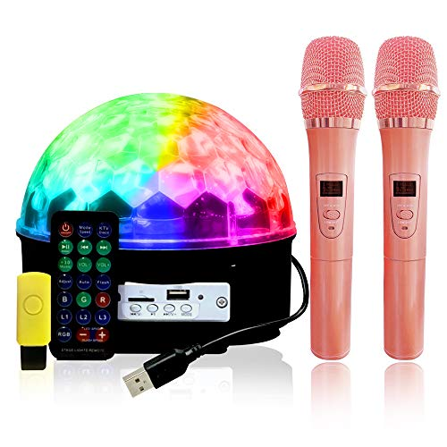 karaoke machine, Echo Control, Colorful LEDs for Party Lights, Dual Bluetooth Microphone Singing 2Mics