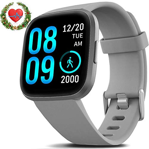 FITVII Smart Watch, Fitness Tracker with IP68 Waterproof Watches, Blood Pressure Heart Rate Monitor with Running Pedometer Step Counter Sleep Fitness Smart Watch for Men Women with iPhone & Android 1